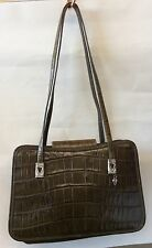 Gorgeous!!! BRIGHTON Deep Avocado Green Leather Moc Croc Tote Shoulder Bag
