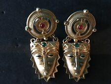 Avon VTG Aztec Tribal Mask Pierce Earrings  with Colored Rhinestone 1993