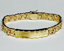 10k Solid Yellow Gold Handmade Men's ID Nugget Bracelet 9mm 42 grams 9.5""