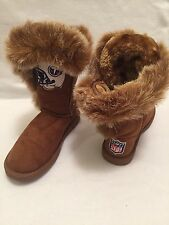 New Tennessee Titans NFL Women's 7M Faux Suede Fur Brown Boots Shoes Winter Warm
