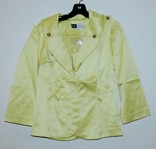 NEW Simply. Chloe Dao Stretch Blazer Jacket with Self Belt Yellow Chartreuse