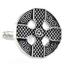 Celtic Cross Cufflinks Wedding Fancy Gift Box & Polishing Cloth