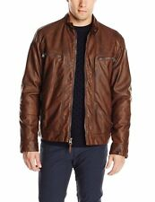 NWT NEW CALVIN KLEIN Faux Leather Moto Hooded Jacket Removable Hoodie XL Brown