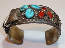 Vintage Sterling TURQUOISE Coral Large Bangle Watch by RC Rose Castillo, Navajo