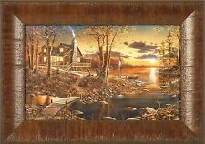 COMFORTS OF HOME by Jim Hansel 11x15 Log Cabin Lake Sunset FRAMED PRINT PICTURE