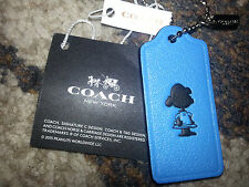 COACH X PEANUTS Snoopy LUCY Blue LEATHER HANGTAG Keychain Fob Charm LIMITED ED