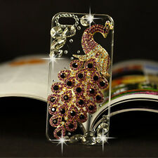 Bling Diamonds Crystal Peacock Thin Clear Soft TPU Back Shell Phone Cover Case S