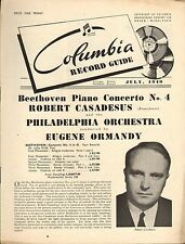 COLUMBIA RECORD CATALOGUE SUPPLEMENT 1949 07 JULY casadesus/ormandy/malcuzynski