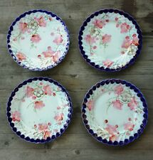 Set of Four Antique Handpainted Nippon Plates – Cherry Blossoms