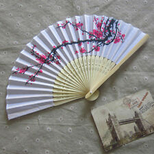 Chinese Folding Hand Fan Cherry Blossom Design Silk Costume Party Craft  3C