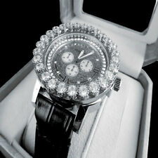 Khronos Mens White Gold Finish Real Diamond Joe Rodeo Cluster Bezel Iced Watch