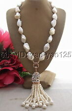 R102804 Natural 24mm Keshi Pearl&Rhinestone Pendant Necklace