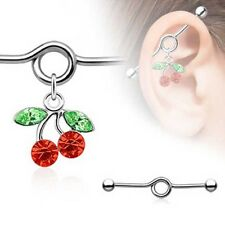 Industrial Barbell Ear Bar Scaffolding Piercing Cherry Surgical Steel 35mm 14G