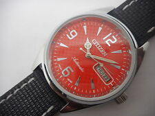 citizen automatic men's steel red dial vintage japan made watch run -nx41