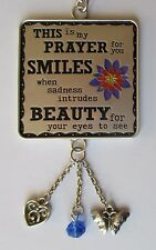 Smiles beauty Heart Butterfly My Prayer for you CAR CHARM mirror ornament Ganz