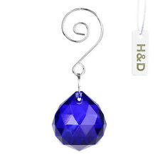 3 Dark Blue Maker Suncatcher Crystal Ball Prism Feng Shui Lamp Drop Pendant 30mm