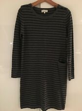 Chinti and Parker Cashmere Striped Grey Navy Sweater Dress Jumper Pocket S Small