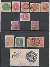 MEXICO 1885-1902 CHOICE CANCELS ON 10 STAMPS & 3 PS CUT OUTS WELLS FARGO+