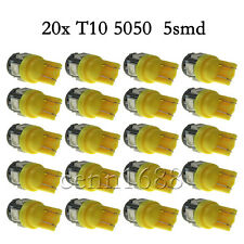 T10 5050 W5W 5-SMD 194 168 LED Amber Car Side Wedge Tail Light Lamp Bulb Yellow