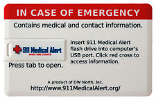 911 Medical and Contact Information Flash Drive  (Credit Card Style)