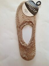 New Nude Tan Fishnet Lace Footlets Slipper Socks Chatties Sexy Size 9-11 Nylon