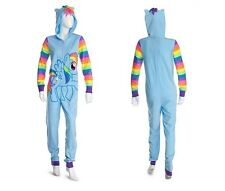 MY LITTLE PONY RAINBOW DASH FLEECE HOODED PJ ADULT/JUNIOR ONESIE! SIZE LARGE!