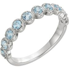 Genuine Aquamarine Gemstones Beaded Stackable Band Ring in 14K White Solid Gold