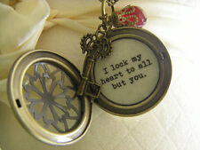 Romantic locket necklace I lock my heart to all but you groom to bride or fiance