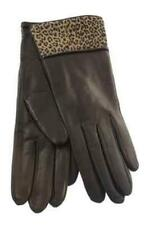 Portolano Teak/Leopard Print Cuff Lined Leather Gloves Size 7 NWT