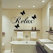 Relax Butterflies Wall Art Sticker Bathroom Quote Decal Various Sizes + Colours