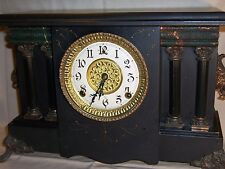 Antique Gilbert Mantle Shelf Clock Working with Chimes Vinoveraltage Great Decor