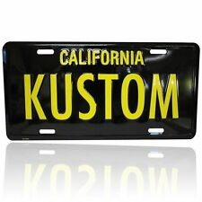 KUSTOM CALIFORNIA LICENSE PLATE BLACK YELLOW CUSTOM LOWRIDER BOMB VTG STYLE YOM