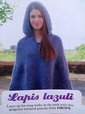 KNITTING PATTERN Ladies Textured Hooded Poncho Wrap Cape Hood Drops PATTERN