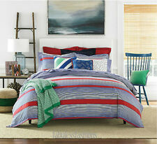 Tommy Hilfiger Arrowhead Full/Queen Comforter Set Red/White/Blue Stripe~NWT