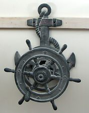 "Cast Iron -Large Grey Ships Wheel  Hose Reel 20"" Tall Wall Mount Nautical Decor"