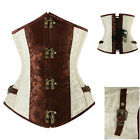 Gothic Basque Boned Lace Up Steampunk Underbust Corset Waist Cincher S-XXL