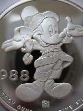 1-OZ.SILVER COIN DISNEYS SANTA MICKEY 1988 HOLIDAYS CHRISTMAS-NEW YEAR  + GOLD