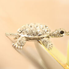 Silver Turtle Keychain Rhinestone Crystal Charm Animal Insects Cute Gift 01140