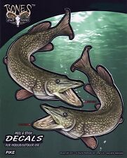 Pike Decals Bumper Stickers Gifts Men Fishermen Fishing Sports Right Left Facing