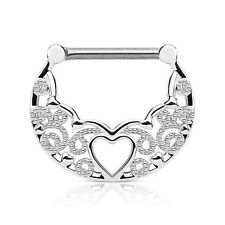 PAIR Hollow Heart Filigree Nipple Rings Shields - Steel, Gold or Rose Gold