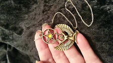 "Egyptian Goddess Isis & PENTAGRAM & 18 ""COLOR ARGENTO CATENA. pagane WICCA STREGA"