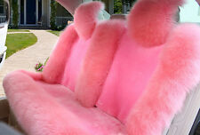 Universal 100% Genuine Sheepskin Long Wool Car Seat Cover Rear Seat Cover PINK