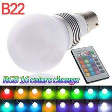 B22 3W 16 Colors Changing RGB LED Light Bayonet Bulb Remote Control Globe Lamp