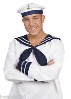 SAILOR TED NAVY SEA CAPTAIN MARINE FANCY DRESS COSTUME ACCESSORY HAT WITH ANCHOR