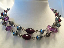 BEAUTIFUL Silvertone w/GRAY Pearl & SMOKY, RED, PINK Glass Bead Necklace 14N275