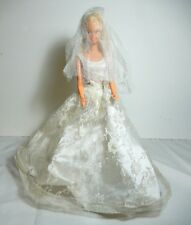 BARBIE DOLL DRESSED BRIDE  WHITE TULLE WEDDING GOWN VEIL