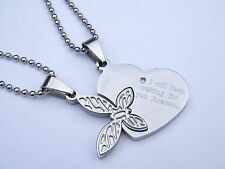 WOMENS LADIES STAINLESS STEEL 316 L COUPLE PENDANT NECKLACE HEART PATTERN