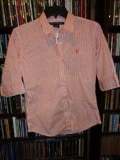Ralph Lauren Sport Orange White Striped Blouse Shirt w Pony sz L NEW NWT (bin80)