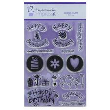 ImpressIt Large Happy Birthday Stamp Set By Purple Cupcakes