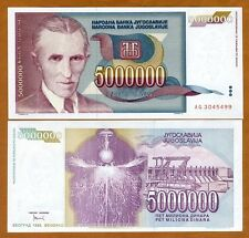 Yugoslavia, 5,000,000 (5000000) Dinara, 1993, Pick 121, UNC   Tesla